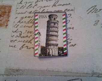 Leaning Tower of Pisa vintage inspired postage stamp handmade badge/brooch