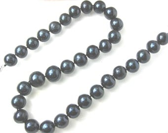 Huge 14mm AA Lustrous Pure Black Freshwater Pearl Necklace -nk26262