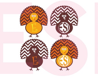 Turkey Monogram svg, Thanksgiving svg, SVG, DXF, EPS, svg files for Silhouette Studio and Cricut Design Space.