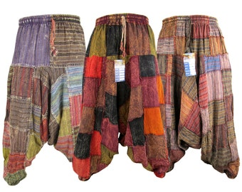 Drop Crotch Casual Patchwork Rusty Natural Cotton Harem Genie Aladdin Ninja Pants Trousers