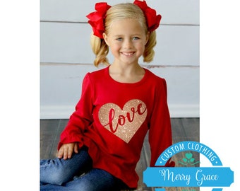 Love Valentine Ruffled Long Sleeve T-Shirt - Supersoft