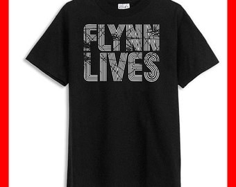 Flynn Lives - Tron Movie Video Game Distressed BLACK T-Shirt