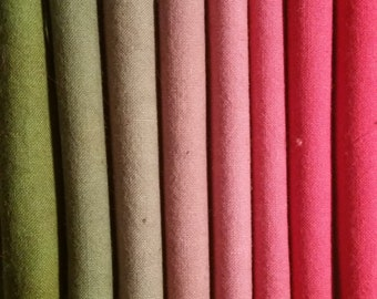 "Hand dyed cotton fat quarters for quilting, gradation of red to avocado, ""Heirloom Tomatoes"""