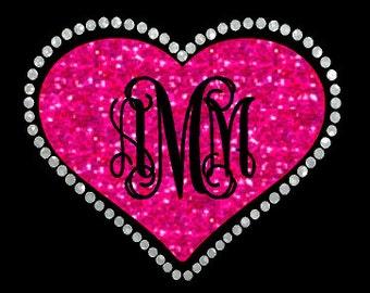 Glitter heart monogram heat transfer, Valentine heat transfer, Glitter Valentine name iron on, Custom iron on, Personalized heat transfer