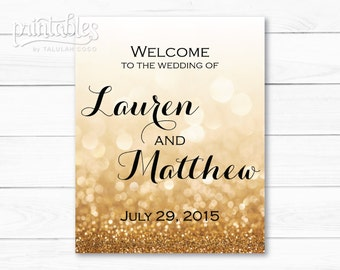 Printable Wedding Welcome Sign - Gold Wedding Decor - Glitter Sparkle Wedding Signage - Custom Wedding Banner Digital - Wedding Decorations