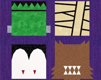 Monsters - 4 Quilt Block Patterns - Foundation Paper Piece Patch - PDF Download