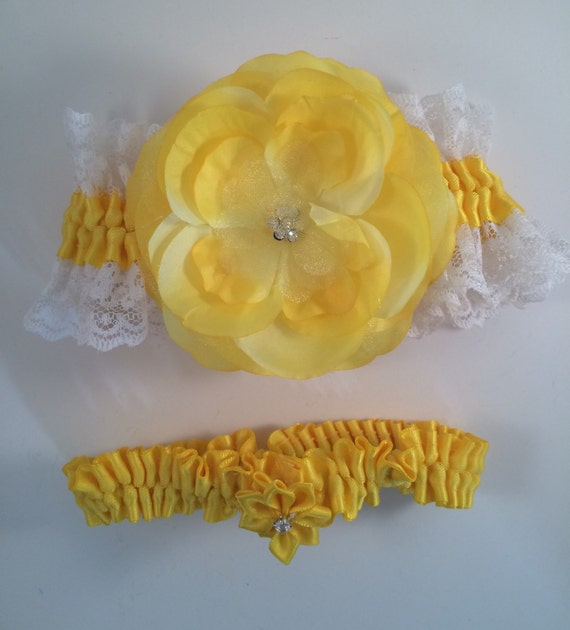 Yellow & White Lace Garters Garter Sets Bridal Garter By