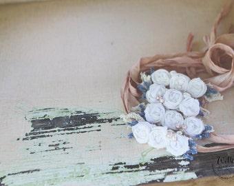 Peachy white rose tieback 20% off