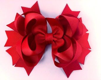 Red hair bow / back to school hair bow / layered hair bow