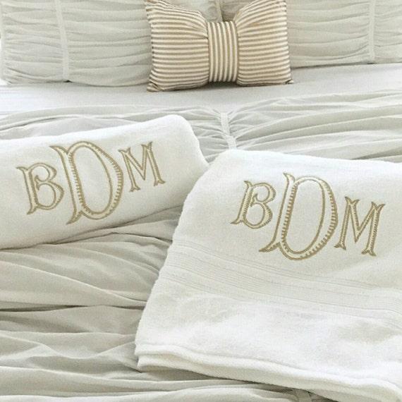 Set Of Monogrammed Bath Towels Large