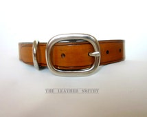 "Leather Dog Collar 1"" wide Antique Tan, Handmade Dog Collars"