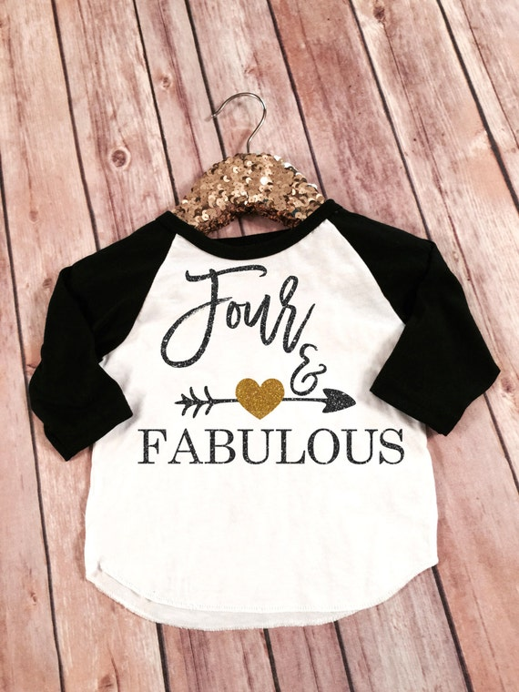 Fabulous And Four Birthday Black Sleeved Raglan Shirt