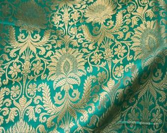 Silk Brocade Fabric Sea Green Gold Weaving, Banarasi Brocade Fabric, Indian Silk, Wedding Dress Fabric, Brocade fabric by the Yard