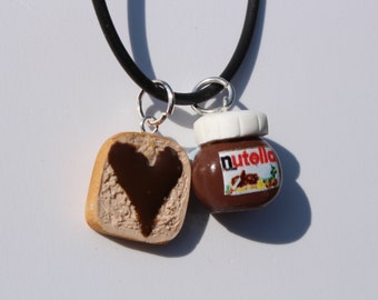 Nutella necklace nutella on toast charm miniature food jewellery chocolate lover necklace bag charm romantic gift for her under 10
