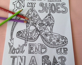 Rockabilly Shoes Printable Coloring Page
