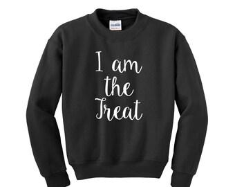 I am the Treat UNISEX Sweatshirt. Halloween Costume. Halloween Sweatshirt. Halloween Shirt. Funny Halloween Costume. Adult Halloween Costume