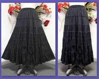 New all Cotton 8 tiered Broomstick Designer Long Plus size Skirt size One and Plus