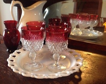 Ruby Flash Water Goblets