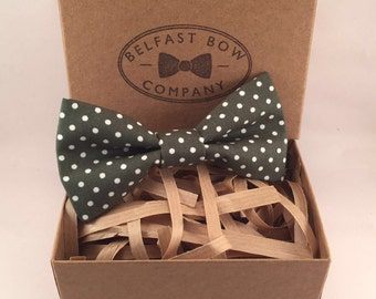 Handmade Spotted Bowtie in Green - Adults & Boy's sizes Available