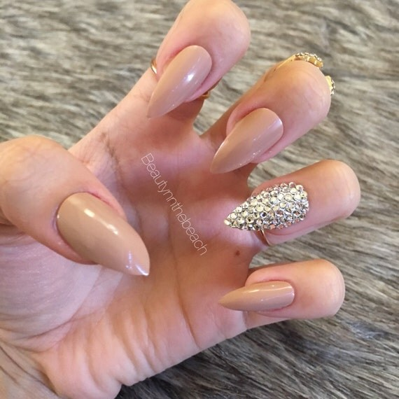 Stiletto nails with rhinestones nude white brown maroon