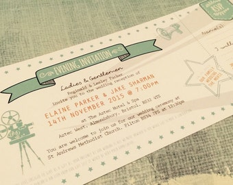 SAMPLE Shabby Chic Elegant Movie / Cinema / Video Wedding Invitations Tickets!