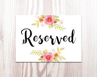 Reserved Wedding Sign, Printable Wedding Sign, Table Sign, Wedding Decor, Diy Wedding