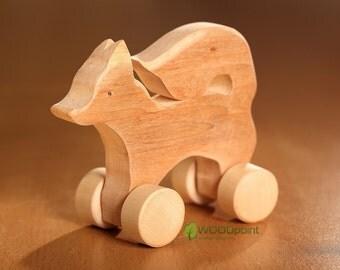 Wooden Push Fox, Toy on Wheels, Push Pull Animals, Wooden animal toys, Bio Kids gifts, Waldorf toy, Animal toys on Wheels, Todler gift