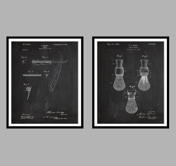 Male bathroom wall decor : Shaving inventions patent men s bathroom art