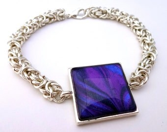 Purple and Silver Bracelet, Unique Chainmaille Bracelet, Unusual Bracelet, Handmade Jewellery, Gifts for Her, Sister Gift, Bridesmaid Gift
