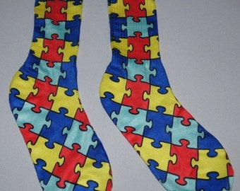 Custom Autism Awareness Puzzle Socks Youth