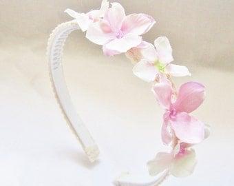Easter Pastel Pink Flower Headband, Spring Summer Girls Hair Accessory, Hydrangea Flower Crown Flower Girls, Gift for girls, Kids Gift