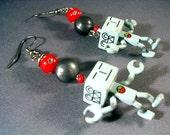 Robot Robots Dangle Earrings Geek Geekery Kitsch Techie Sci Fi Red Gray Grey