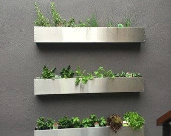 Floating Stainless Steel Hanging Planter Box/ Succulent Wall/ Garden/  Modern/ MCM/