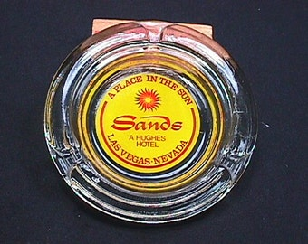 Vintage Sands Hotel Glass Ashtray out of Las Vegas as-is