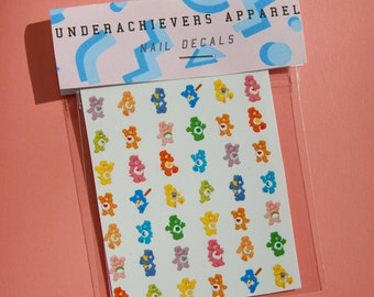 90's Care bear waterslide nail decals