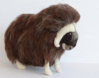Needle Felted Musk Ox, Musk Ox Sculpture