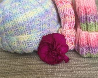 Hand knit Newborn Hospital Baby Hat - fun, multi color