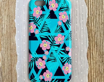 Turquoise Blue Phone Case Tropical Phone Case Blue Floral Phone Case Tropical Flowers Turquoise iPhone 6S Plus Case Turquoise Samsung Case