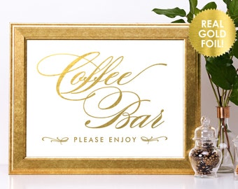 COFFEE BAR Wedding Sign in Gold Foil / Custom Wedding Sign / Beverage Sign / Drink Signs in Gold / Buffet Sign / Dessert Sign / Lily Theme
