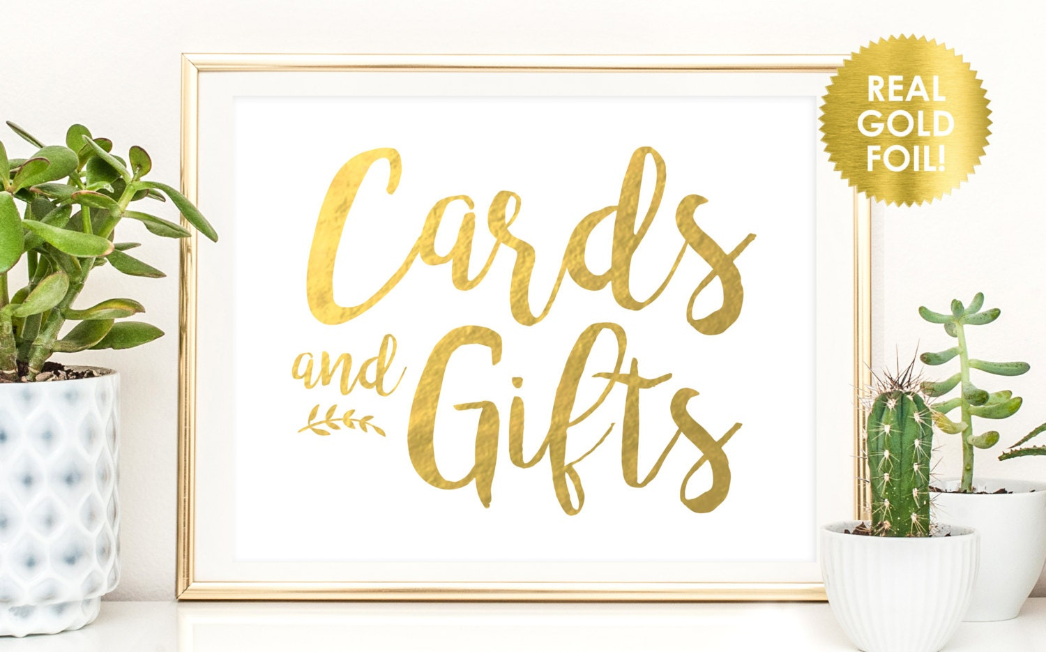 Cards and gifts sign in gold foil gift table signs for Table 6 gift card