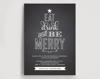 Christmas Invitation Printable, Christmas Party, Holiday Party Invitation, Eat Drink and Be Merry Invitation, Instant Download #BPB166
