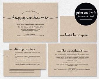 Wedding Invitation Printable, Rustic Wedding Invitation, Kraft Wedding  Invitation, Editable Template, DIY