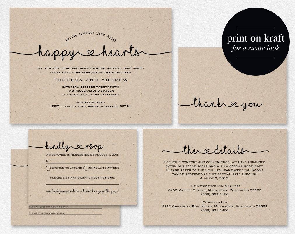 Wedding Invitations Shops: Wedding Invitation Printable Rustic Wedding Invitation Kraft