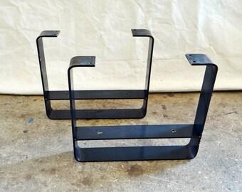 SET Of 2 Flat Steel Table Legs With Lower Shelf, Metal Coffee Table Legs,