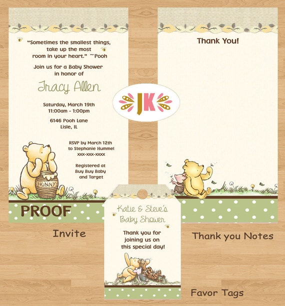 classic winnie the pooh baby shower printed invitations nuetral
