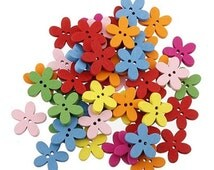Colorful Wooden Bright Flower Design Buttons - Craft, Sewing, Scrapbooking Embellishment, Cute, Baby Shower, Birthday