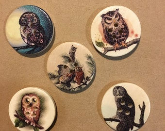 Large Owl Design Buttons - Craft, Sewing, Scrapbooking Embellishment, Cute, Baby Shower, Birthday