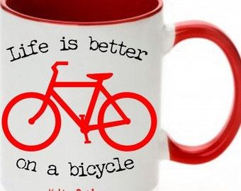 Bicycle Coffee Mug Red, Bicycle Mugs, Coffee Mugs, Bike Mugs, Bike Coffee Mugs