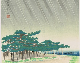 "Japanese Ukiyoe,  Woodblock print, antique, Tokuriki Tomikichiro, ""Shin Karasaki Pine Trees - Eight Views of Omi"""