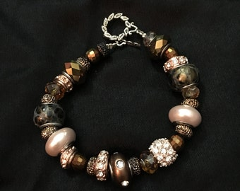 Chocolate and gold  braceletwith murano beads and matching earrings